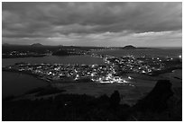 Seongsang Ilchulbong at twilight. Jeju Island, South Korea ( black and white)