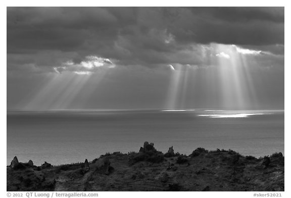 Gods rays and Ilchulbong rim. Jeju Island, South Korea (black and white)