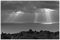 Gods rays and Ilchulbong rim. Jeju Island, South Korea ( black and white)