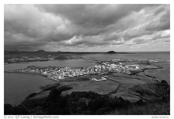 Seongsang Ilchulbong  seen from crater. Jeju Island, South Korea (black and white)
