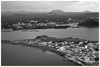 Seongsang Ilchulbong and volcanoes from above. Jeju Island, South Korea ( black and white)