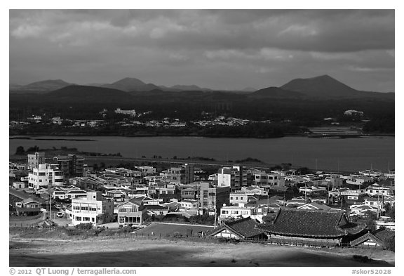 Seongsang-ri village. Jeju Island, South Korea (black and white)