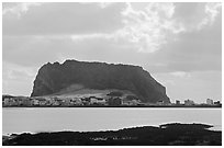 Seongsang-ri at the base of Ilchulbong crater. Jeju Island, South Korea ( black and white)