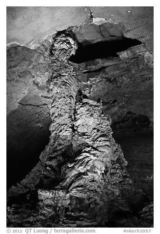 Lava column, Geomunoreum. Jeju Island, South Korea (black and white)
