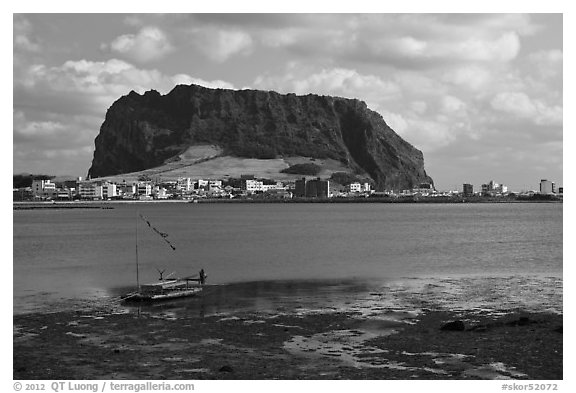 Seongsang-ri and Ilchulbong Seongsang. Jeju Island, South Korea (black and white)