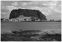 Seongsang-ri and Ilchulbong Seongsang. Jeju Island, South Korea ( black and white)