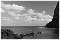 Coastline, and cliff, Seongsang Ilchulbong. Jeju Island, South Korea ( black and white)