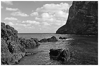 Sea cliffs, Seongsang Ilchulbong. Jeju Island, South Korea (black and white)