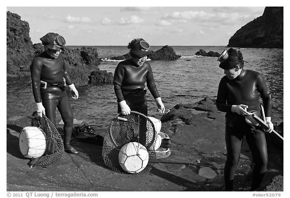 Elderly Haeneyo women in wetsuits. Jeju Island, South Korea (black and white)