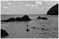 Haeneyo women swimming in cove. Jeju Island, South Korea (black and white)
