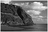 Steep cliffs of Seongsang Ilchulbong. Jeju Island, South Korea ( black and white)