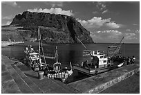 Fishing boats, Seongsang Ilchulbong. Jeju Island, South Korea (black and white)
