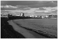 Black sand beach, Seongsang Ilchulbong. Jeju Island, South Korea ( black and white)