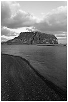 Ilchulbong volcano and beach. Jeju Island, South Korea (black and white)