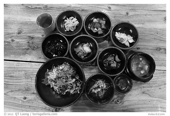 Black and white picture photo korean meal jeju island south korea