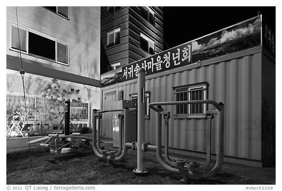 Public exercise equipment and buildings at night, Seogwipo. Jeju Island, South Korea (black and white)