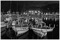 Harbor at night, Seogwipo-si. Jeju Island, South Korea ( black and white)