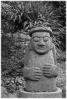 Dol Harubang statue, Seogwipo. Jeju Island, South Korea ( black and white)