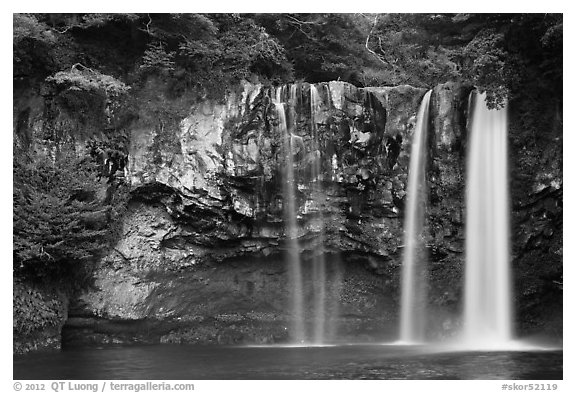 Cheongjiyeon Pokpo waterfall, Seogwipo. Jeju Island, South Korea (black and white)