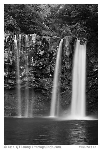 Cheongjiyeon Pokpo falls, Seogwipo. Jeju Island, South Korea (black and white)
