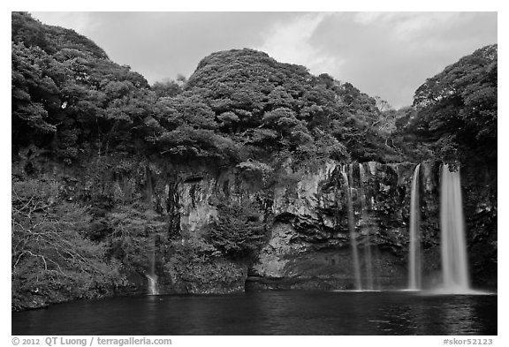 Cliffs, and Cheongjiyeon Pokpo, Seogwipo. Jeju Island, South Korea (black and white)