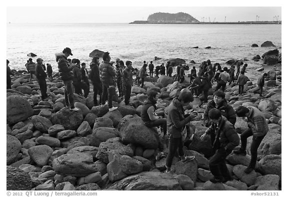 Tourists on rocky beach, Seogwipo. Jeju Island, South Korea (black and white)