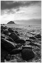 Boulder coastline, Seogwipo-si. Jeju Island, South Korea ( black and white)