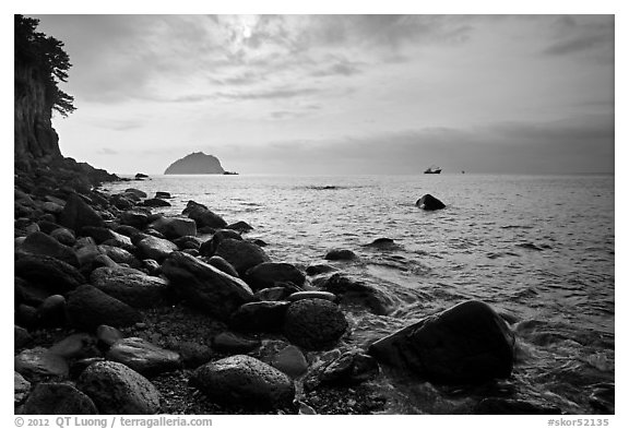 Rocky coastline, Seogwipo. Jeju Island, South Korea (black and white)