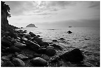Rocky coastline, Seogwipo. Jeju Island, South Korea ( black and white)