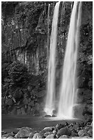 Jeongbang Pokpo Falls, Seogwipo. Jeju Island, South Korea ( black and white)