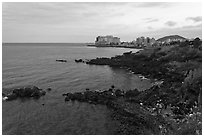 Seashore and Yongduam Rock, Jeju-si. Jeju Island, South Korea (black and white)