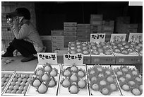 Tangerine fruit stand, Jeju. Jeju Island, South Korea ( black and white)