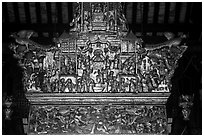 Altarpiece, Loo Pun Hong temple. George Town, Penang, Malaysia (black and white)