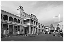 Street and colonial-style supreme court. George Town, Penang, Malaysia (black and white)