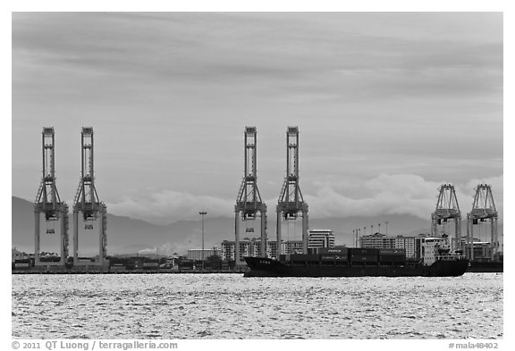 Port and container ship. George Town, Penang, Malaysia (black and white)