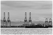 Port and container ship. George Town, Penang, Malaysia ( black and white)
