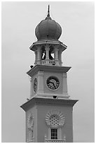 Victoria memorial clock tower. George Town, Penang, Malaysia (black and white)