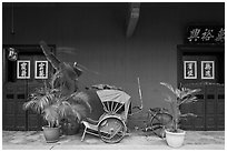 Trishaw and doors, Cheong Fatt Tze Mansion. George Town, Penang, Malaysia ( black and white)