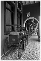 Rickshaws in front gallery, Cheong Fatt Tze Mansion. George Town, Penang, Malaysia ( black and white)