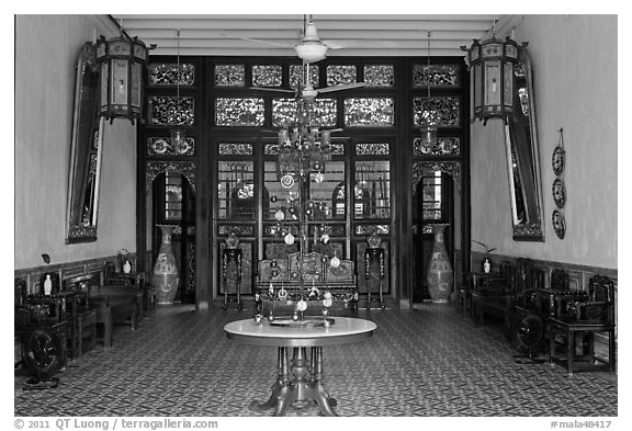 Entrance hall, Cheong Fatt Tze Mansion. George Town, Penang, Malaysia (black and white)