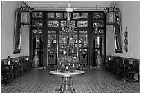 Entrance hall, Cheong Fatt Tze Mansion. George Town, Penang, Malaysia ( black and white)
