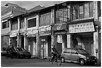 Old Chinatown storehouses. George Town, Penang, Malaysia (black and white)