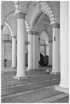 Interior, Masjid Kapitan Keling mosque. George Town, Penang, Malaysia ( black and white)