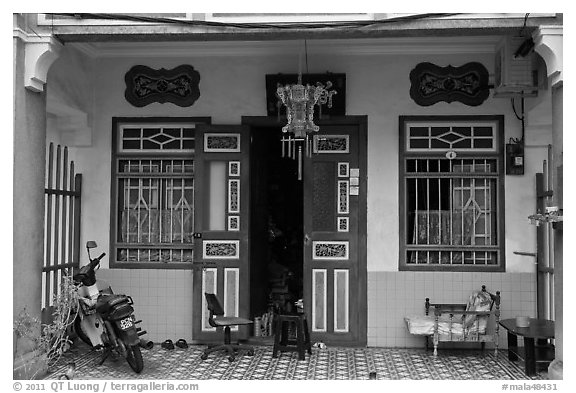 Townhouse entrance. George Town, Penang, Malaysia (black and white)
