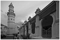 Acheen Street Mosque with Egyptian-style minaret. George Town, Penang, Malaysia (black and white)