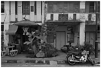 Old townhouse facades. George Town, Penang, Malaysia (black and white)