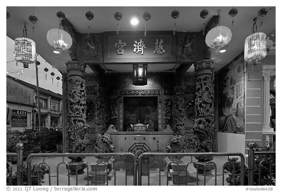 Chinese temple at dusk. George Town, Penang, Malaysia (black and white)