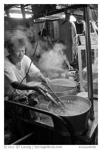 Hawker street foodstall. George Town, Penang, Malaysia (black and white)