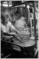 Hawker street foodstall. George Town, Penang, Malaysia ( black and white)