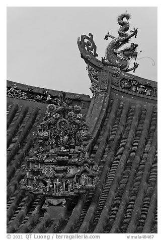 Roof detail, Kuan Yin Teng Chinese temple. George Town, Penang, Malaysia (black and white)